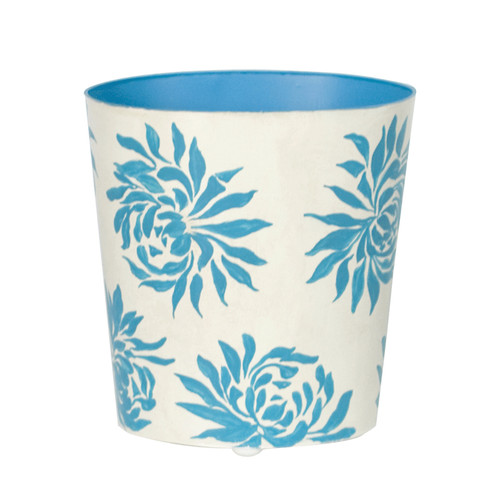 Oval Wastebasket Turquoise Floral