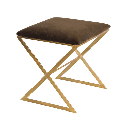 """""""X"""" Side Stool In Gold Leaf With Brown Velvet Top"""