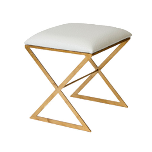 """""""X"""" Side Stool In White Faux Ostrich Top"""