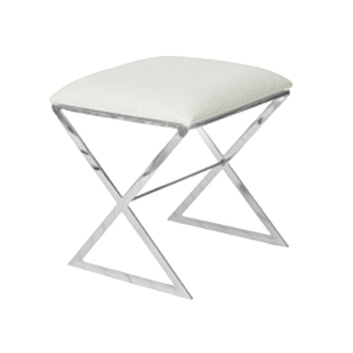 """""""X"""" Side Stool In Nickel Plate With White Faux Ostrich Top"""