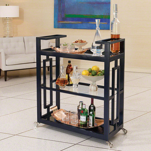 Grid Block Bar Cart - Ink