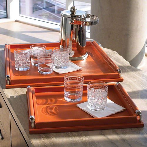 Wrapped Handle Tray - Coral Leather - Lg