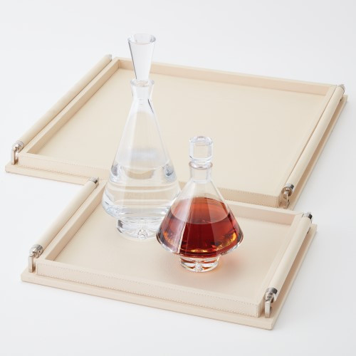 Wrapped Handle Tray - Ivory Leather - Lg