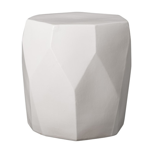 Facet Garden Stool - White