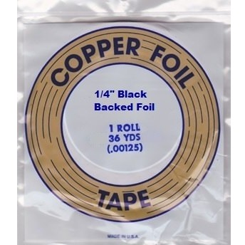 """EDCO 1/4"""" Black Back Copper Foil for Stained Glass"""