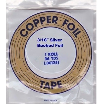 "EDCO 3/16"" Silver Back Copper Foil for Stained Glass"