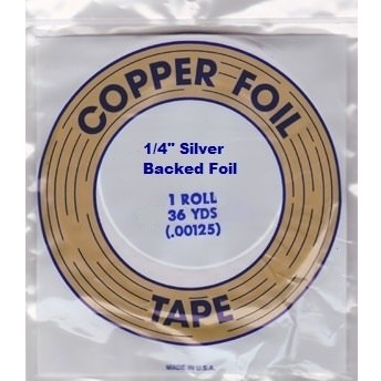 """EDCO 1/4"""" Silver Back Copper Foil for Stained Glass"""