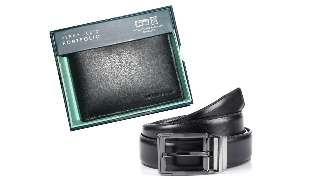 Men S Leather Wallet Belt Set Perry Ellis Portfolio