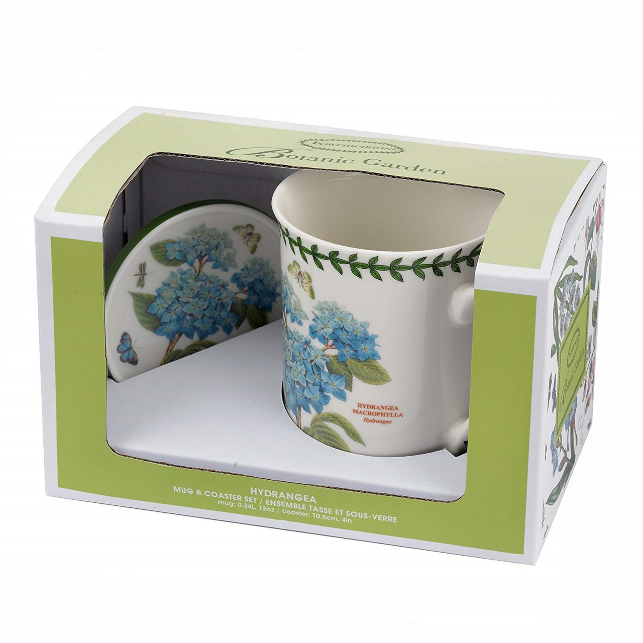 Ceramic Floral Coffee Mug Coaster Hydrangea Set Botanic Garden