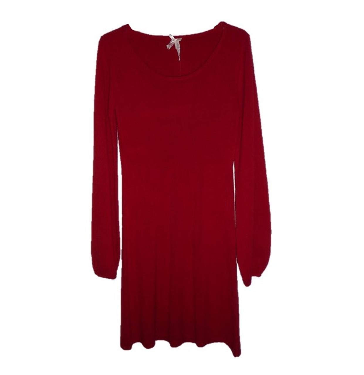 Womens Knit Dress Long Sleeve Red Sweater Dress