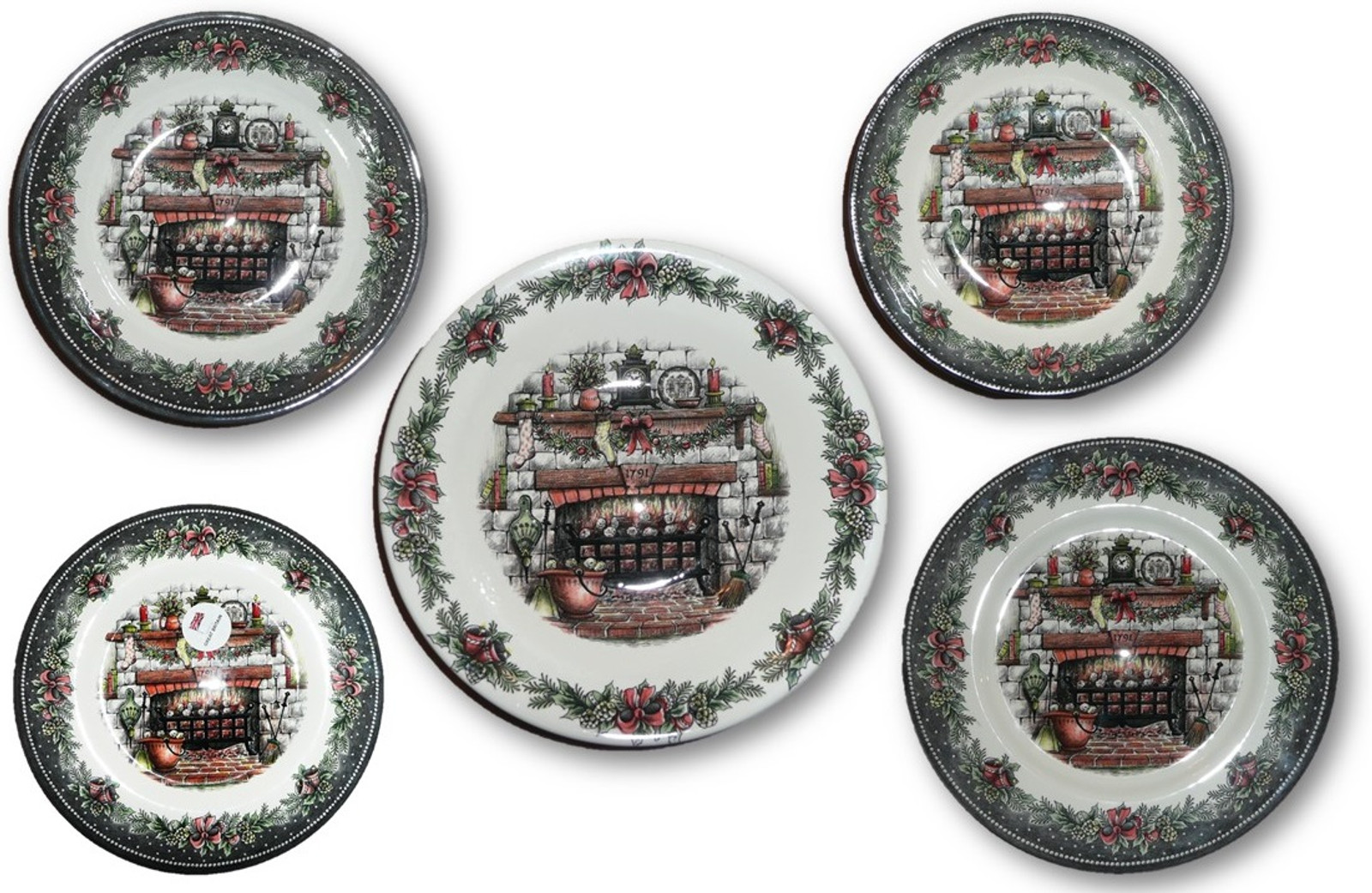 Christmas Dinnerware.Pottery Plates And Bowls Fireplace Base Christmas Dinnerware Set Of 5 Dishes