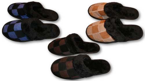e665f4d3f634 Men Leather Slippers Faux Fur Indoor Shoes