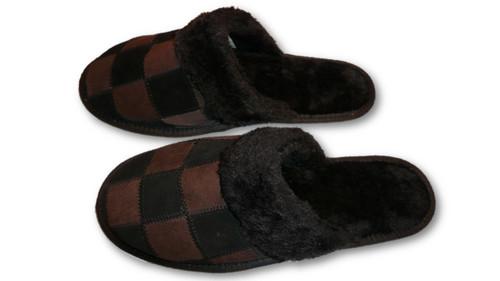 4ba8b68f2e41 ... Mens Slippers Faux Fur Black Indoor Shoes ...