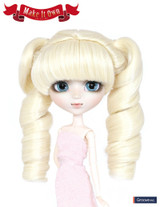 Wig: hair tied in bunches style-Roll,platinum blonde hair color-