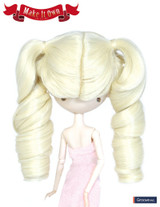 Wig: hair tied in bunches style-Roll,platinum blonde color