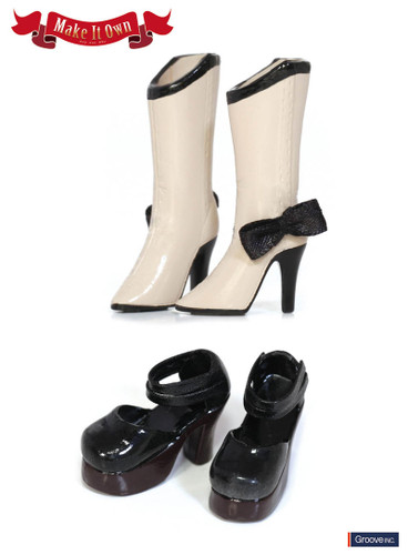 Shoes:Boots (Beige) x Strap Shoes (Black)