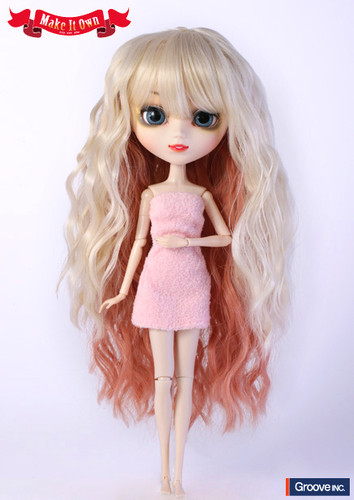 Wig:Wavy Style Hair (Blond with Pink Slice)