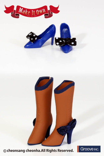 Shoes: High Heels (Blue) x Boots (Brown)