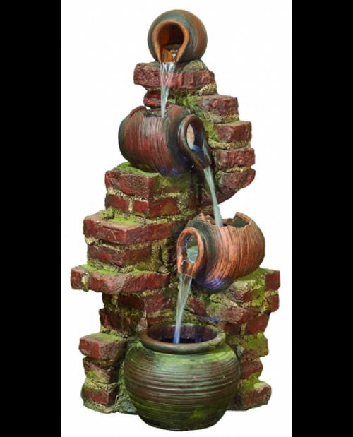 Kelkay Flowing Jugs Water Feature With LED Lighting