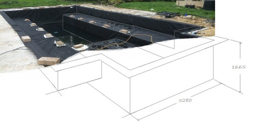 10ft x 10ft x 4ft Flexible Square Box Pond Liner 0.75 Millimetre