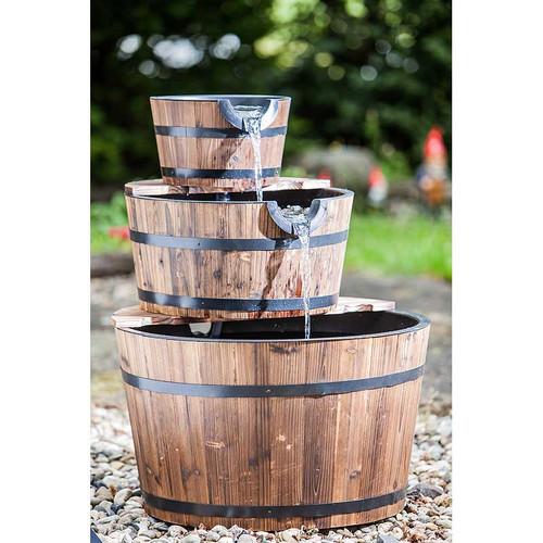 Heissner 3 Tier Wooden Barrel Water Feature