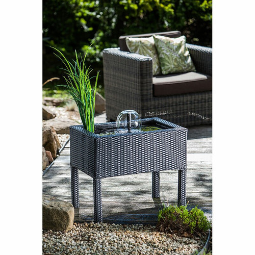 Heissner Raised Rattan Patio Pond - Black