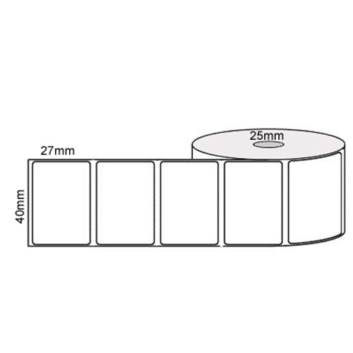 40mm x 27mm - White Direct Thermal Removable Labels, 25mm core, (2000/roll)