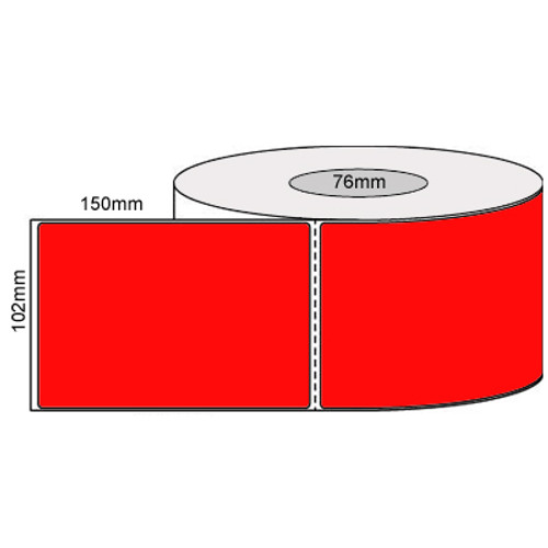 102mm x 150mm - Fluro Red Thermal Transfer Perforated Labels, Permanent Adhesive, 76mm core, (1000/roll) - L19927