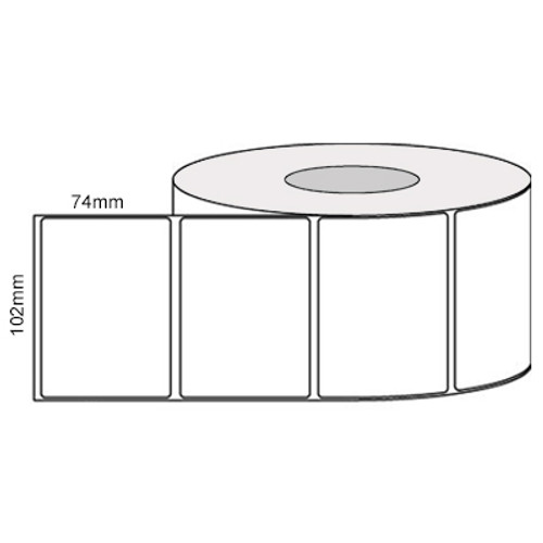 102mmx74mm - Thermal Transfer - 40mm core - 500L/Roll - Permanent - perforated