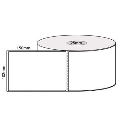 102mm x 150mm - White Direct Thermal Perforated Labels, Permanent Adhesive, 25mm Core, (400/roll)  - L11415