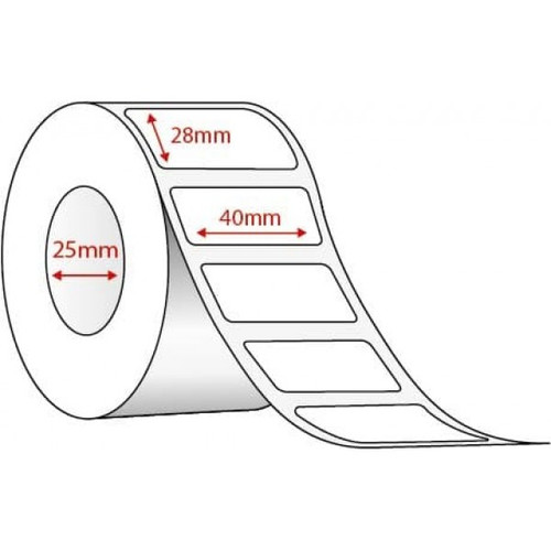 40mm x 28mm - White Thermal Transfer Poly Labels, Permanent Adhesive, 25mm Core, (2000/roll) - L18349