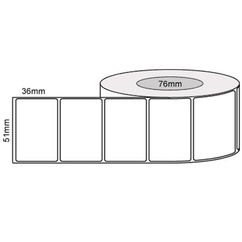 51mm x 36mm - White Gloss Thermal Transfer Labels, Permanent Adhesive, 76mm core, (3000/roll)
