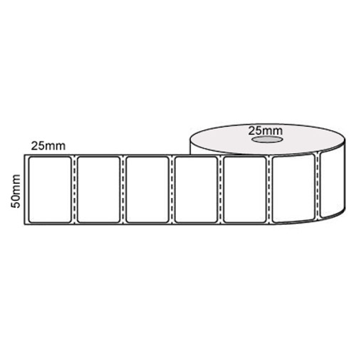 50mm x 25mm - White Direct Thermal Perforated Labels, Permanent Adhesive, 25mm Core, (2000/roll) - L12685