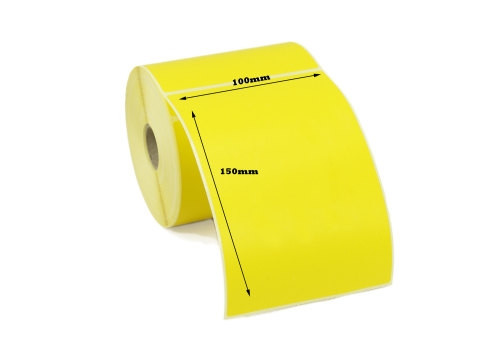 100mm x 150mm Yellow Direct Thermal Label 400L/Roll 25mm core - PERMANENT ADHESIVE