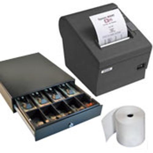 Epson TM-T82III Serial/ USB + EC410 Cash Drawer + Nexa 80mm Thermal Rolls, Box 24