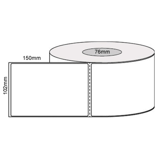 102mm x 150mm - White Thermal Transfer Perforated Labels, Permanent Adhesive, 76mm Core, (1000/roll) - L10024