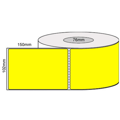 102mm x 150mm - Fluro Yellow Thermal Transfer Perforated Labels, Permanent Adhesive, 76mm core, (1000/roll) - L19924