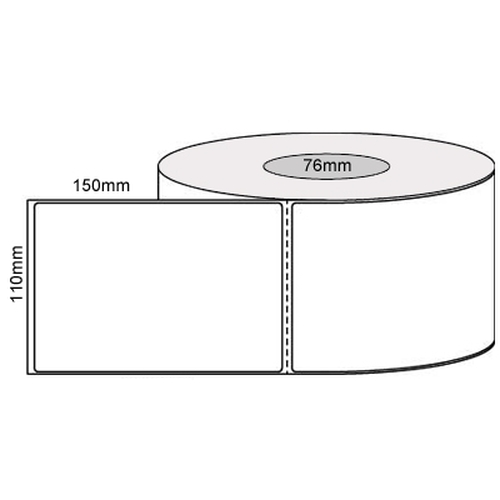 100mm x149mm - White Direct Thermal Eco Perforated Labels, Permanent Adhesive, 76mm Core, (1000/Roll)
