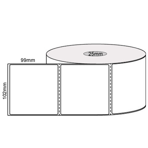 102mm x 99mm - White Direct Thermal Labels, Permanent Adhesive, 25mm core, (500/roll)