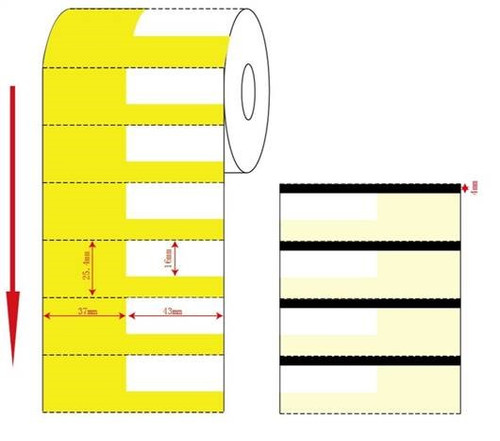 80mm x 25.4 THERMAL TRANSFER CARD/TAGS  YELLOW-  1000 TAGS/Roll