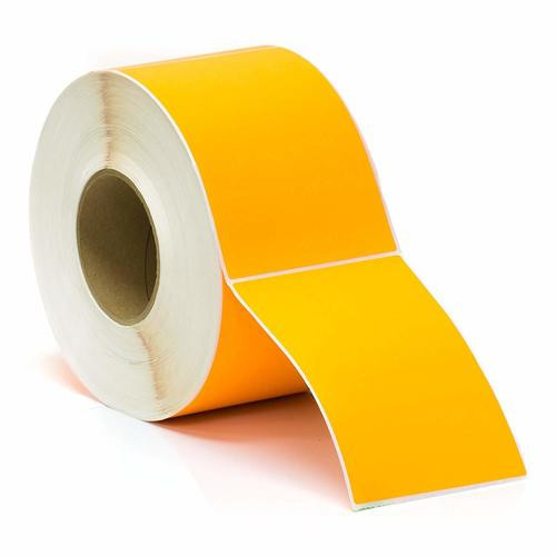 100mm x 150mm ORANGE Direct Thermal Label 350L/Roll 25mm core - PERMANENT ADHESIVE