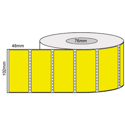 102mm x 48mm - Yellow Direct Thermal Labels, Permanent Adhesive, 76mm core, (1000/roll)