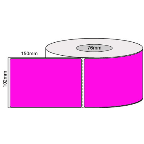 102mm x 150mm - Fluro Pink Thermal Transfer Perforated Labels, Permanent Adhesive, 76mm core, (1000/roll) - L19928