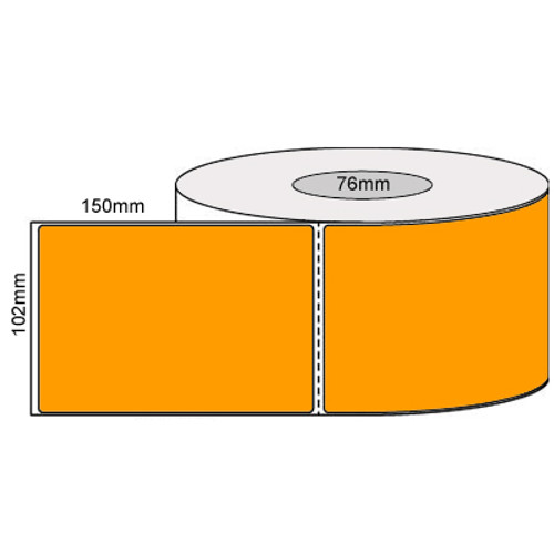 102mm x 150mm - Fluro Orange Thermal Transfer Perforated Labels, Permanent Adhesive, 76mm Core, (1000/roll) - L19925