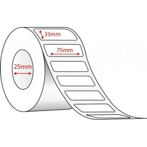 75mm x 33mm Thermal Transfer Labels , 25 mm core, (1000/roll)