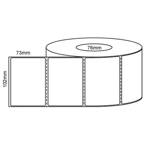 102mm x 73mm - White Gloss Thermal Transfer Perforated Labels, Permanent Adhesive, 76mm core, (2000/roll)