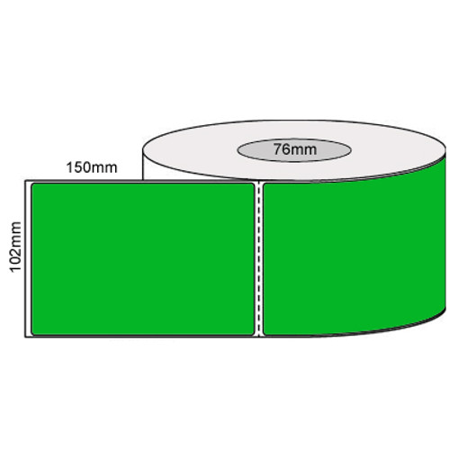 102mm x 150mm - Fluro Green Thermal Transfer Perforated Labels, Permanent Adhesive, 76mm core, (1000/roll) - L19926