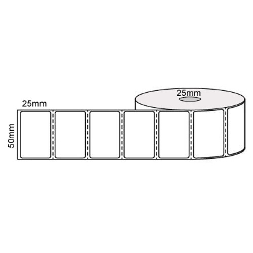 50mm x 25mm - White Direct Thermal Perforated Labels, Permanent Adhesive, 25mm Core, (500/roll)