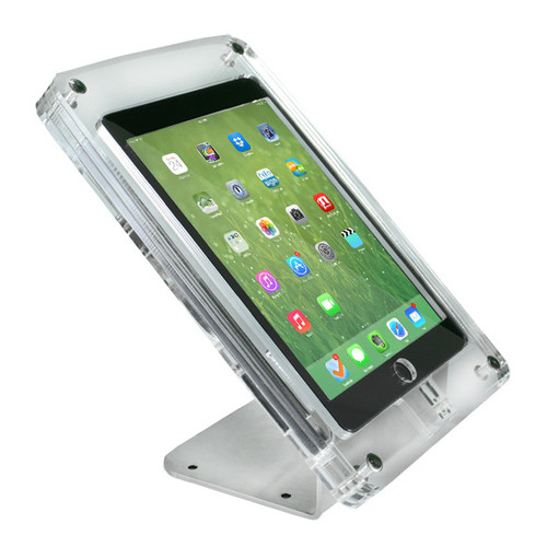 IPAD Mini Crystal Enclosure with Wall or Benchtop Kiosk stand