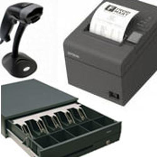 Nexa PX-610 Thermal Printer (Serial or USB) + Nexa LS6320E Laser Scanner in Stand + Nexa CB900 Cash Drawer